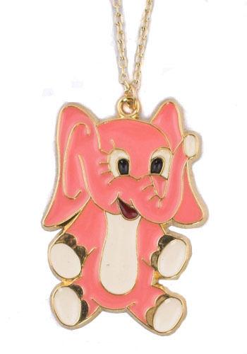 Vintage Pink Elephant Necklace
