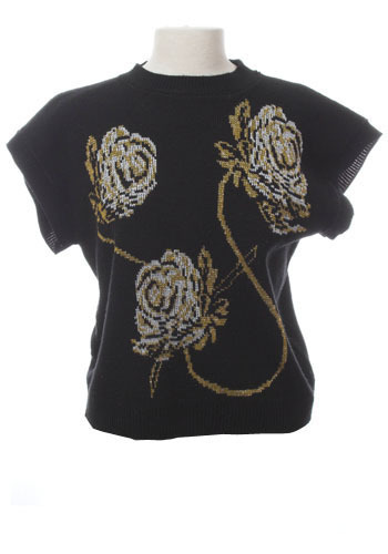Vintage Metallic Roses Top