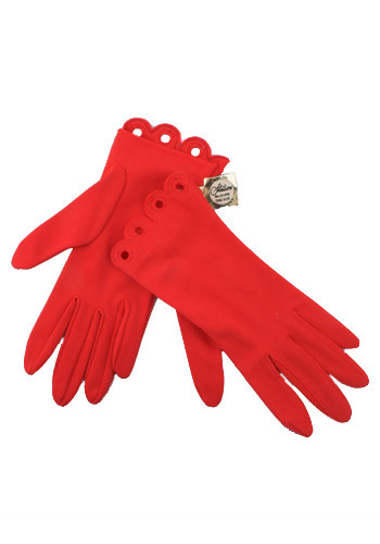 Vintage Red Glamour Gloves
