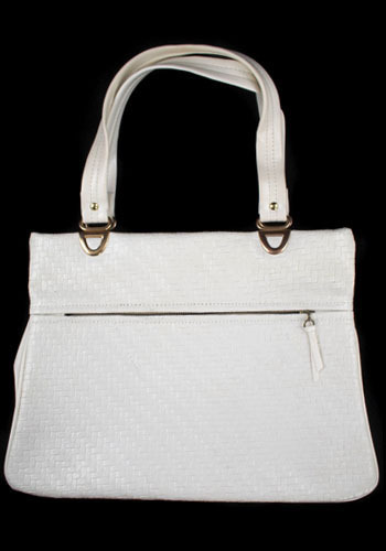 Vintage White and Woven Bag