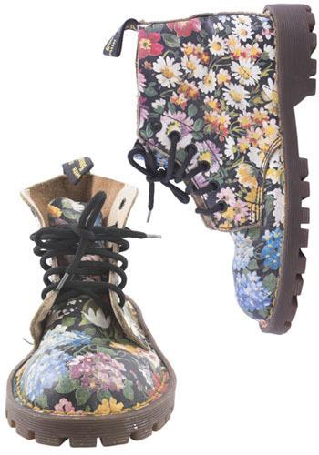 Vintage Floral Combat Boots