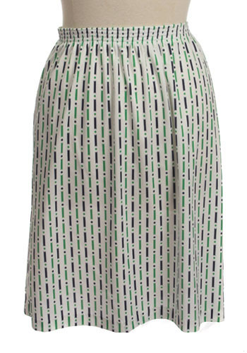 Vintage Dots and Lines Skirt