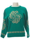 Vintage Emerald Leaves Sweater