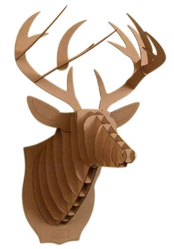 Cardboard Mounted Deer - Brown, Casual, Dorm Decor