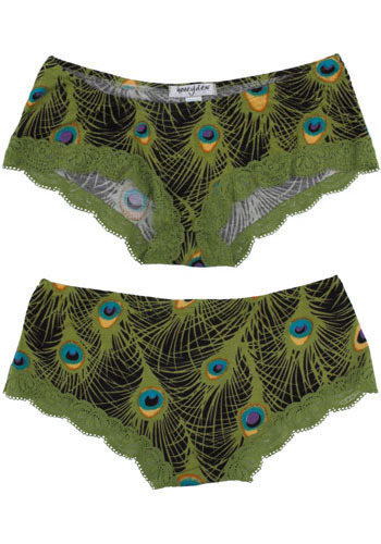 Peacock Plumage Undies - Green, Blue, Animal Print, Lace, Trim, Casual