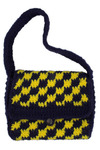 Vintage Navy and Yellow Crocheted Bag