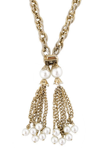 Vintage Pearl Tassel Necklace