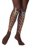 Brown Peacock Feather Tights by Look From London - Brown, Orange, Yellow, Green, Blue, Black, Special Occasion, Casual, Spring, Summer, Fall, Winter, Solid, Vintage Inspired, 20s, 30s, 40s