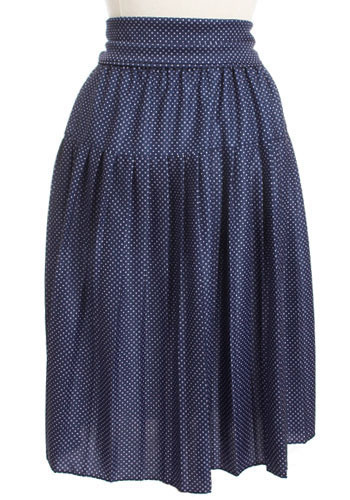 Vintage Navy Dots Skirt