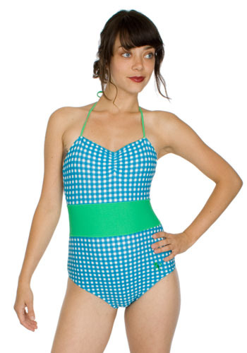 Beach Party Bathing Suit - Blue, White, Green, Checkered / Gingham, Bows, Casual, Halter, Spring, Summer