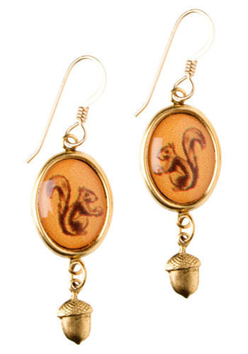 Squirrel Power Earrings - Orange, Tan, Brown, Gold, Print with Animals, Casual, Vintage Inspired, 20s, 30s, 40s
