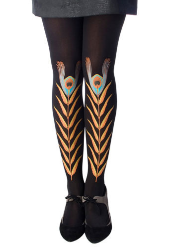Black Peacock Feather Tights by Look From London - Black, Orange, Yellow, Blue, Black, Print with Animals, Special Occasion, Party, Casual, Spring, Summer, Fall, Winter, Solid, Vintage Inspired, 20s, 30s, 40s