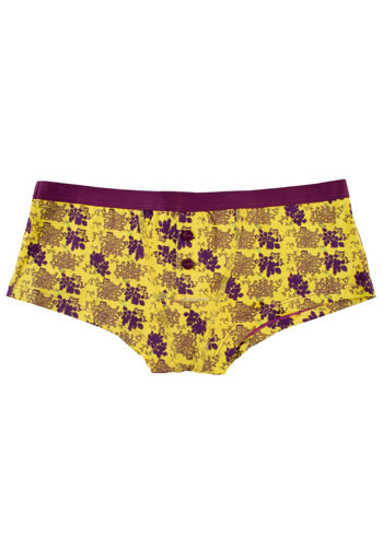 Yellow Alyssum Undies - Yellow, Purple, Floral, Buttons, Casual