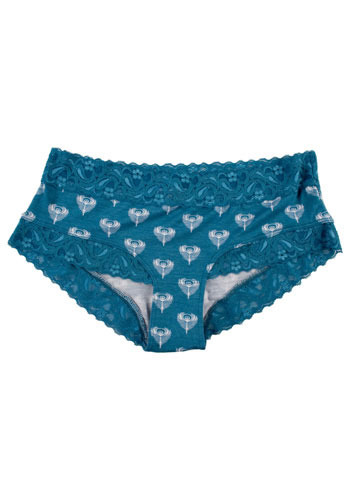 The Bluest Peacock Eye Undies - Blue, White, Animal Print, Lace, Trim, Casual