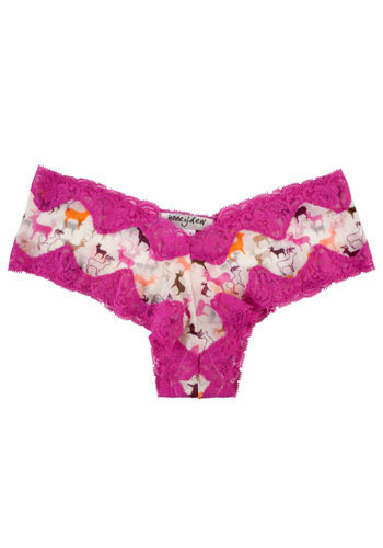 Deerly Loved Undies - Pink, Multi, Print with Animals, Lace, Trim, Casual