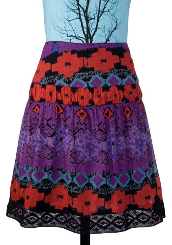 India Ink Batik Skirt - Mid-length