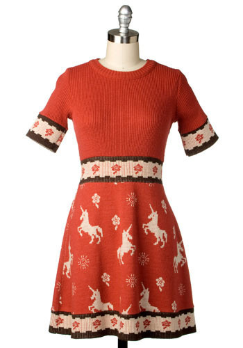 Vintage Holiday Unicorn Dress
