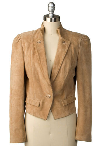 Vintage Sleek and Suede Cropped Jacket