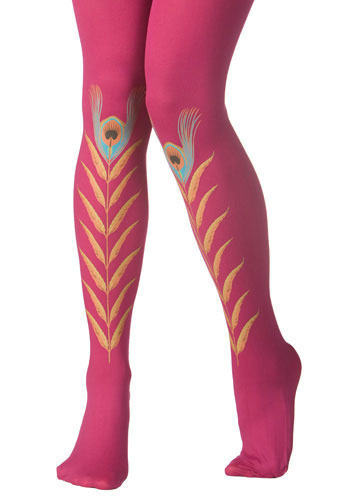 Fuchsia Peacock Feather Tights by Look From London