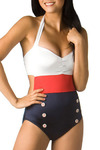 Retro Sailor Monokini by Fables by Barrie - Red, Blue, White, Buttons, Cutout, Casual, Nautical, Vintage Inspired, Halter, Tank top (2 thick straps), Summer