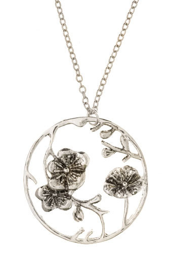 Cherry Blossom Pendant - Silver, Casual, Vintage Inspired, 80s