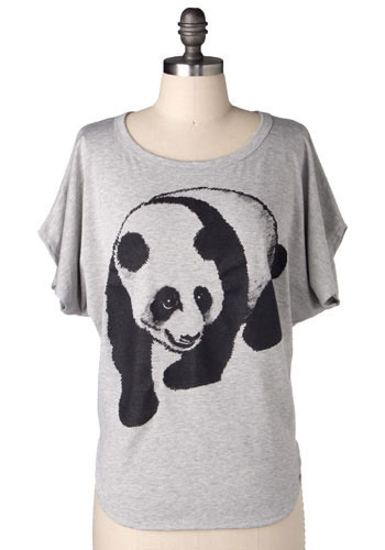 Block Party Panda Tee in Grey - Mid-length