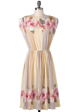 Vintage Pleated Bouquet Dress