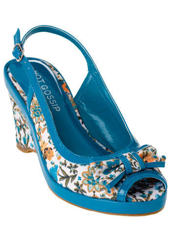 Porch Swing Peep Toes in Blue - Wedge