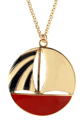 Five Oceans Pendant - Gold, Red, Black, White, Casual, Nautical, Vintage Inspired, Spring, Summer