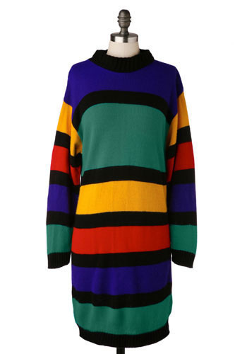 Vintage Cheerful Sweater Dress