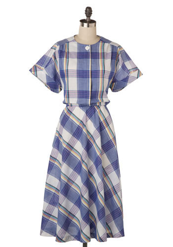 Vintage Charming Check Dress