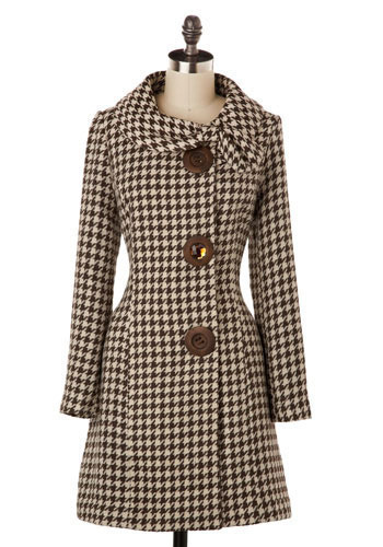 Amber Road Coat in Brown Houndstooth - Long