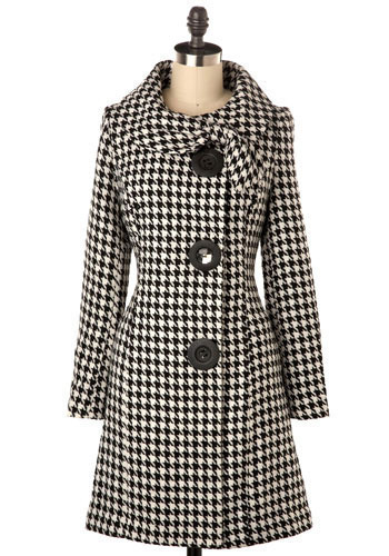 Amber Road Coat in Black Houndstooth - Long