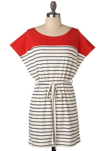 Nautical by Nature Dress - White, Red, Blue, Stripes, Casual, Nautical, Spring, Summer, Sheath / Shift, Cap Sleeves, Short