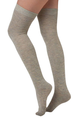 Pencey Prep Thigh Highs in Heather Grey