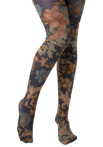 Staffordshire Tights by Look From London - Multi, Orange, Green, Pink, Floral, 90s