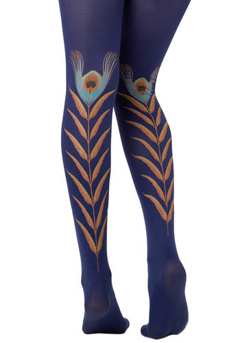 Indigo Peacock Feather Tights by Look From London - Blue, Orange, Yellow, Blue, Black, Print with Animals, Special Occasion, Casual, Spring, Summer, Fall, Winter, Solid