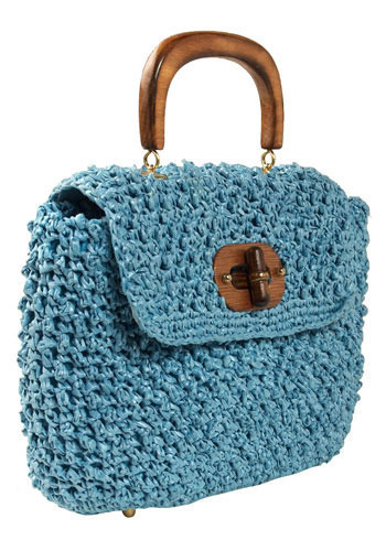 Vintage Biz Blue Raffia Purse