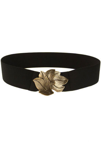Gold Leaf Belt - Black, Gold, Casual