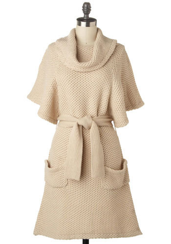Cinnamon Oatmeal Sweater Dress - Mid-length