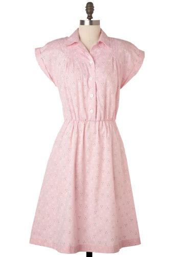 Vintage Baby Pink Eyelet Print Dress