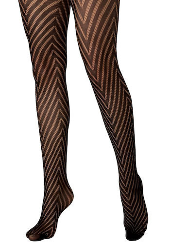 V is for Vixen Tights - Black, Stripes, Chevron