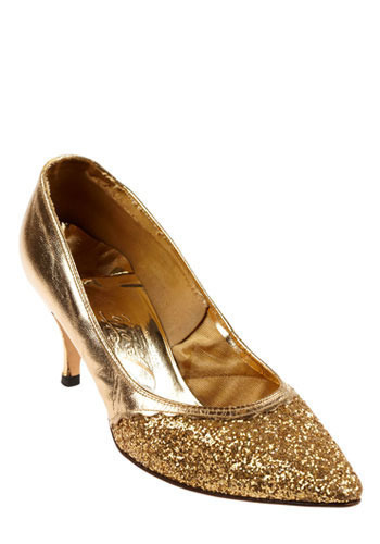 Vintage Golden Glitter Shoes