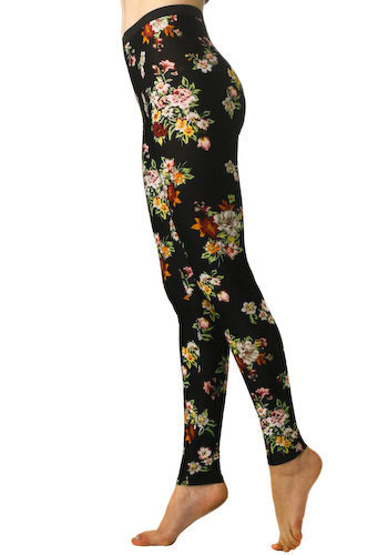 Garden Gams Leggings - Black, Multi, Red, Yellow, Green, White, Floral, Casual, Long