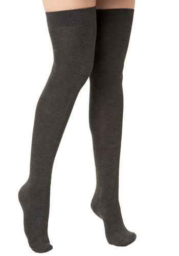 Pencey Prep Thigh Highs in Dark Charcoal - Black, Grey, Solid, Casual, Fall, Winter