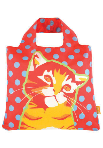 Cute Finds Fold-Up Bag in Feline - Red, Multi, Print with Animals