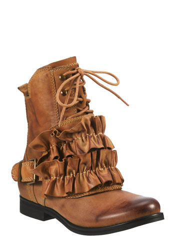 One, Two, Ruffle My Shoe by Jeffrey Campbell - Tan, Ruffles, French / Victorian, Steampunk, Low, Best, Lace Up