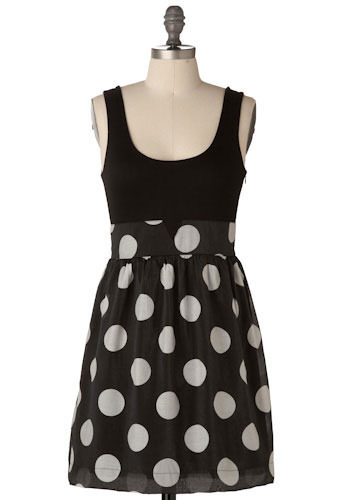 Sample 116 - Black, White, Polka Dots, Casual, Empire, Tank top (2 thick straps)