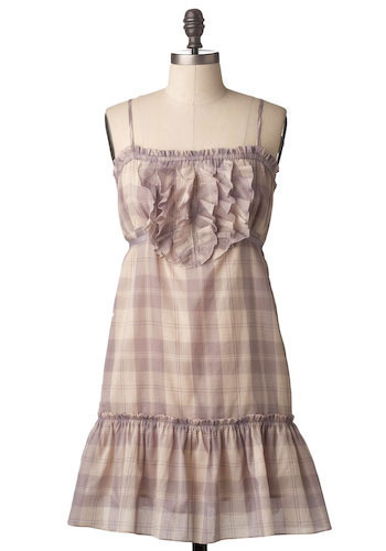 Sample 80 - Purple, Cream, Plaid, Ruffles, Tiered, Casual, A-line, Spaghetti Straps