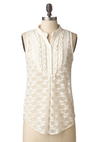 Sample 81 - White, Floral, Lace, Sleeveless